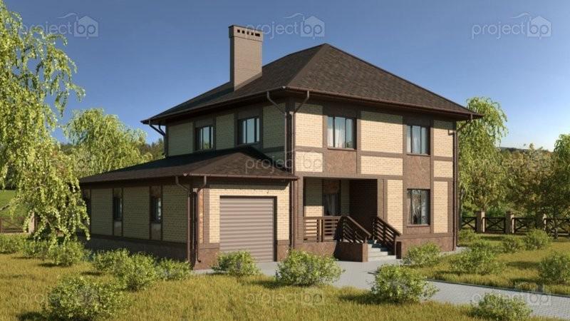 Проект двухэтажного дома с гаражом на две машины 203-C